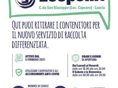 Attivo l'Ecopoint per il ritiro dei contenitori per il nuovo servizio di raccolta differenziata